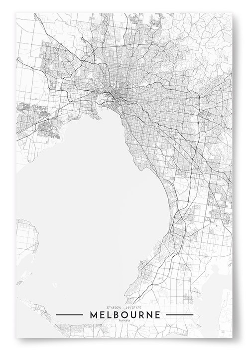 Poster Melbourne Karta Svartvit