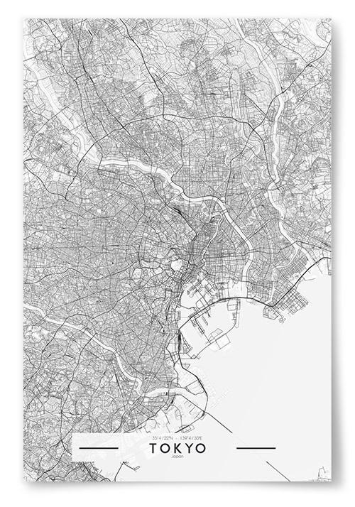 Poster Tokyo Karta Svartvit