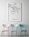 Poster Hong Kong Karta Svartvit
