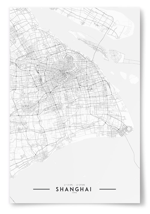 Poster Shanghai Karta Svartvit