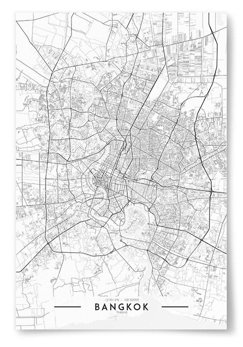 Poster Bangkok Karta Svartvit