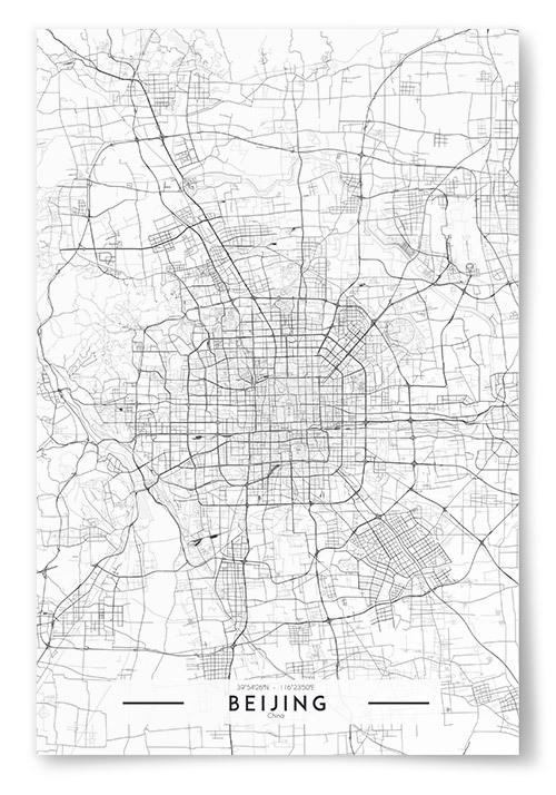 Poster Beijing Karta Svartvit