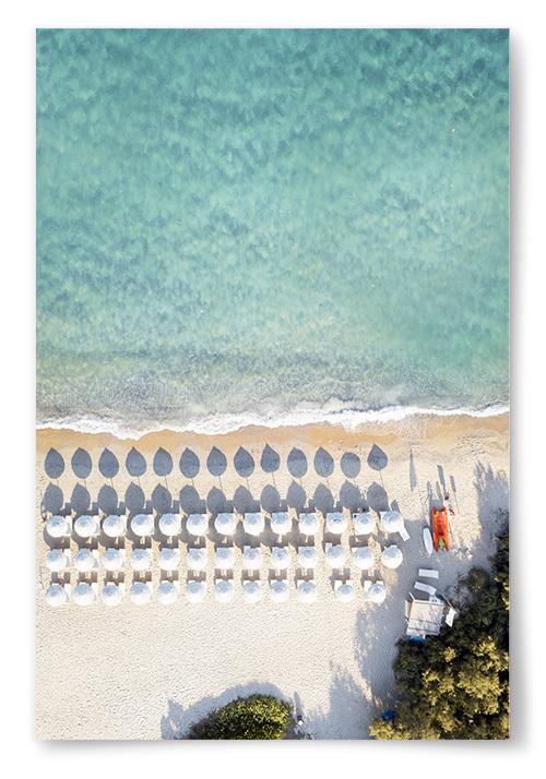 Poster Strand med Parasoller No2