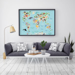 Poster Världskarta med Djur