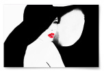 Poster Kvinna i Hatt Akvarell