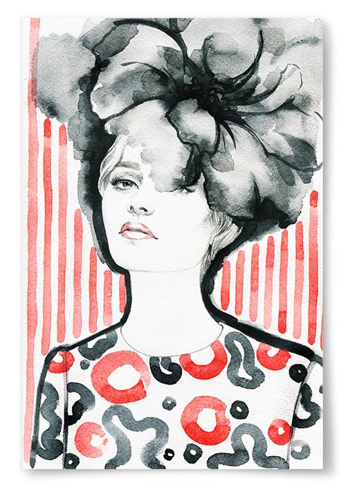 Poster Kvinna Framför Rött