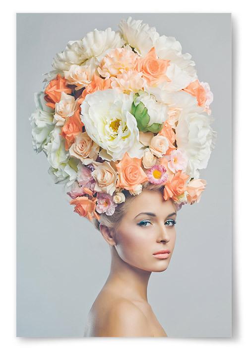 Poster Kvinna med Blommor i Håret