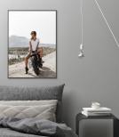 Poster Kvinna på Motorcykel