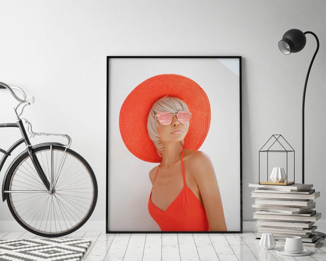 Poster Kvinna Röd Hatt dc366891ee5e5