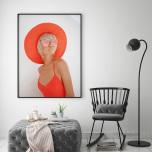 Poster Kvinna Röd Hatt