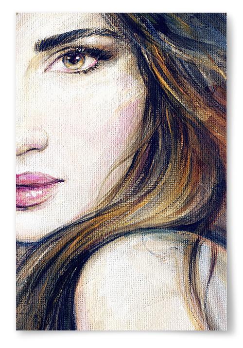 Poster Kvinna Närbild Målning