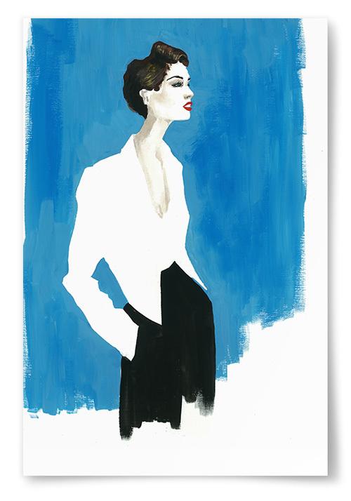 Poster Kvinna Framför Blått