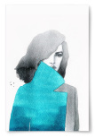 Poster Kvinna med Blå Rock