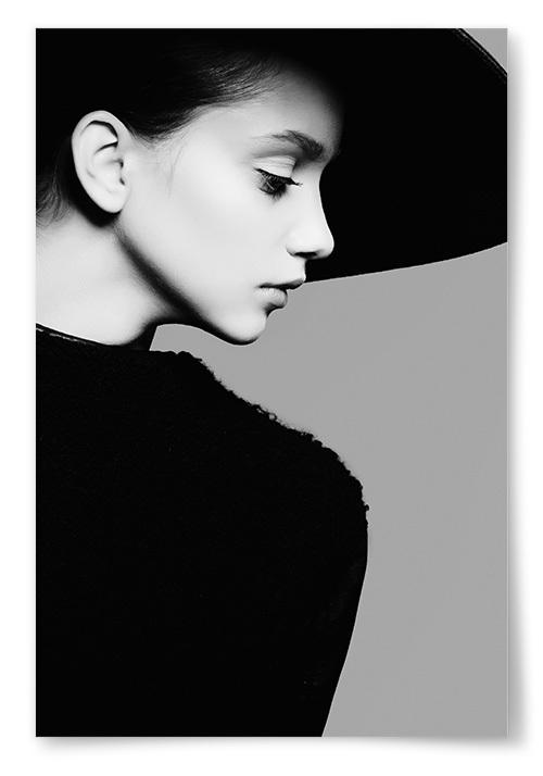 Poster Kvinna i Hatt Profil