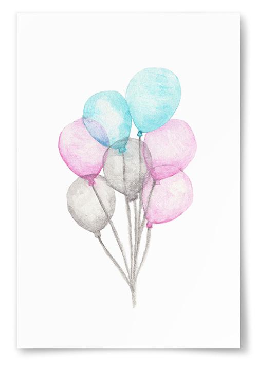 Poster Ballonger Akvarell