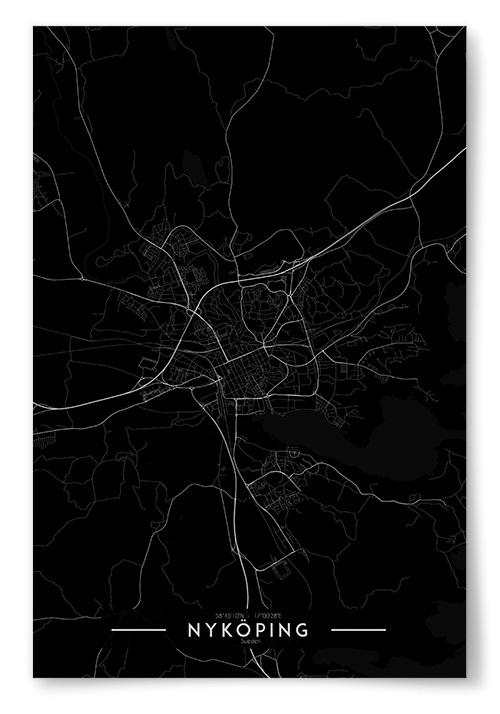 Poster Nyköping Karta Inverterad