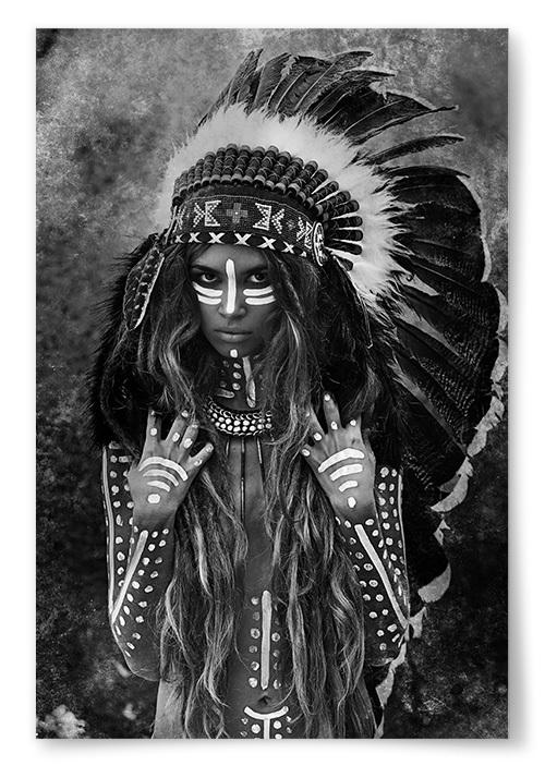Poster Kvinna Indian Svartvit