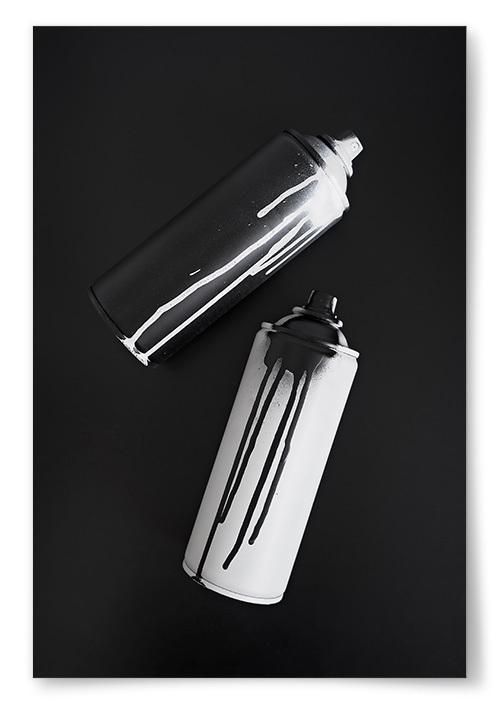 Poster Sprayburkar Svart och Vit