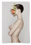 Poster Kvinna med Blommor i Ansiktet