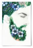 Poster Blommor Skägg