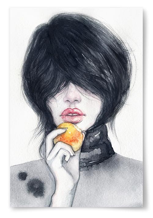 Poster Kvinna Akvarell Page