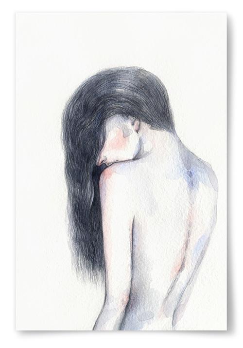 Poster Kvinna Akvarell Rygg