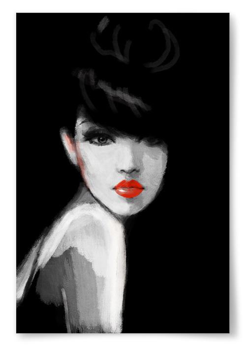 Poster Målning Kvinna Svart Bakgrund