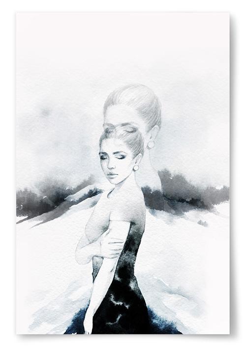 Poster Akvarell Kvinna