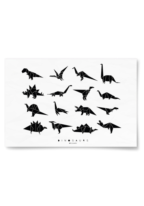 Poster Dinosaurs Origami Vit/Svart