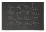 Poster Dinosaurs Origami Svart/Vit