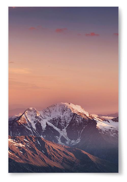 Poster Berg Solnedgång