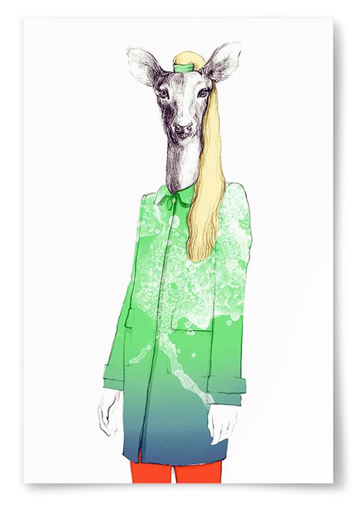 Poster Tecknat Rådjur