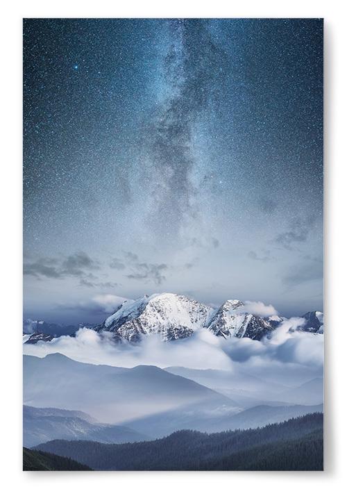 Poster Stjärnhimmel Snölandskap No2