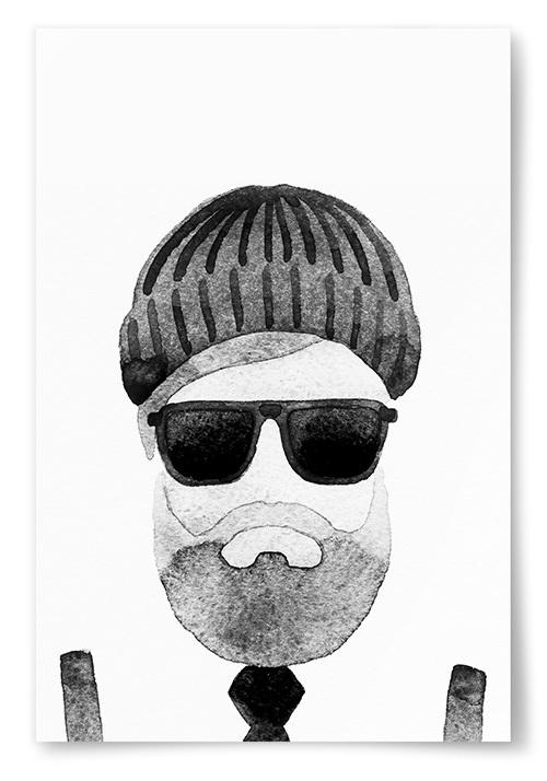 Poster Man med Solglasögon och Mössa