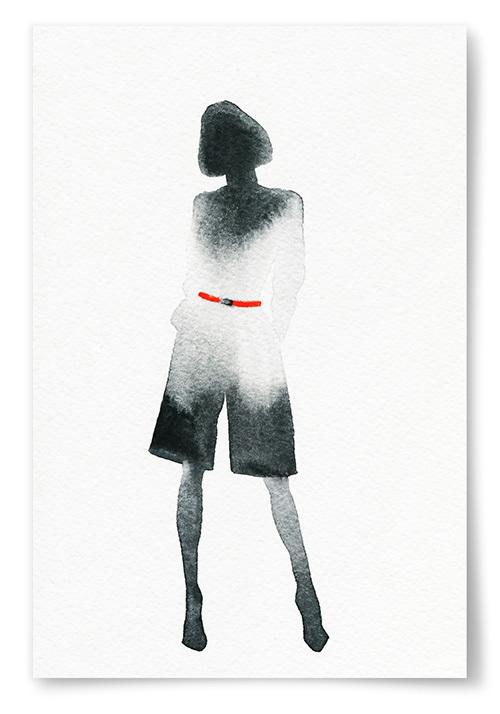 Poster Kvinna Akvarell Skugga