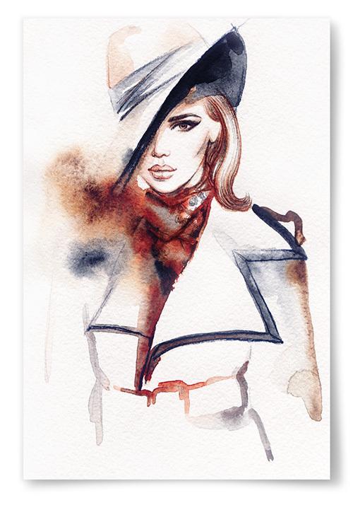 Poster Elegant Kvinna i Rock och Hatt 2