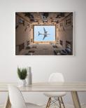 Poster Flygplan Ovanför Byggnad