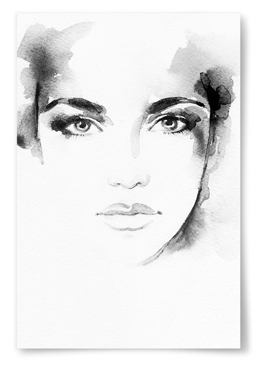 Poster Akvarell Ansikte Svart Vitt