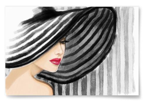 Poster Akvarell Kvinna Randig Bakgrund