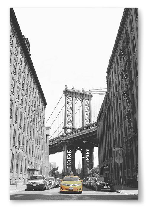 Poster - Manhattan Bridge och Yellow Cab - 70x100 thumbnail