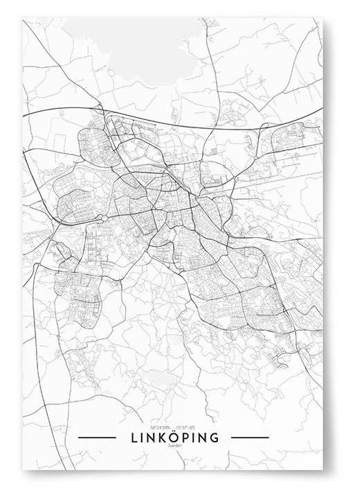 Poster Linkoping Karta Svartvit